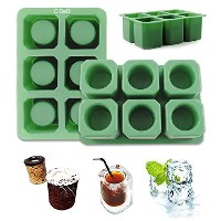 DiDaDi [2 Pack]Silicone Ice Shot Glass Mold,6-cups Square Green Ice Cube Tray,Jelly Tray ,Cake Cup...