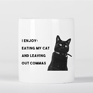 I Enjoy Eating My Cat Funny Grammar Quote with Cute Cat Photo 貯金箱