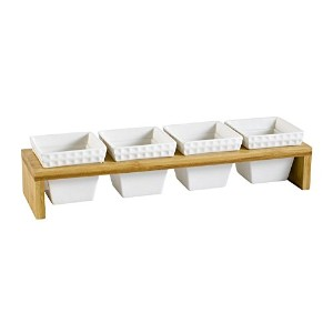 CAC China PTW-5 Accessories Four Bone White Porcelain Square Bowls with Bamboo Stand, Box of 12 ...