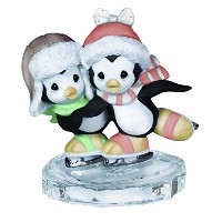 Precious Moments Two Penguins Ice Skating Figurine [並行輸入品]