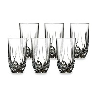 Set Of Six CRYSTAL HIGHBALL Twist Cut Bar-ware Glasses, Clear Glass Drink Cups Ideal for Elegant...