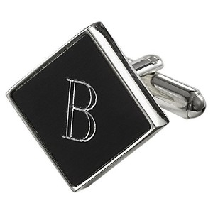 Visol Grove PersonalizedブラックMatte Cufflinks with刻印文字B