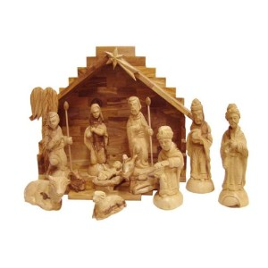 Olive Wood Nativity set-従来Carvings