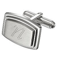 VisolカプリPersonalizedステンレススチールRectangular Cufflinks with Engraved Letter N