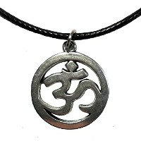 Fashion Silver Tone Om Pendant Leather Chain Necklace