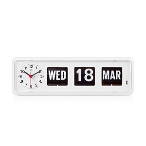 Retro Modern Twemco German Quartz Calendar Wall Flip Clock BQ 38 (White) by Twemco [並行輸入品]