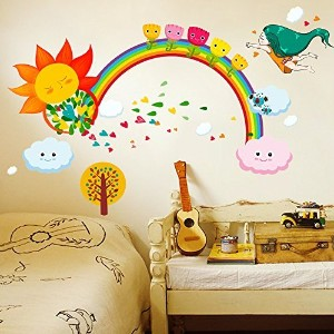 Brandream Colorful Kids Wall Sticker Cute Rainbow Wall Decals Kids Rooms Wall Stickers by Brandream