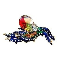 Handmade Swimming Octopus Art Glass Blown Sea Animal Figurine - No.3 by We Are Handmade Figurine...