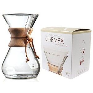 Chemex Classic Wood Collar and Tie Glass 8-Cup Coffee Maker with 100 Count Bonded Circle Coffee...