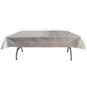 Exquisite Plastic Tablecloth 54in. x 108in. Rectangle Table Cover - Silver Lace by Exquisite
