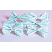 Funcoo 100 pcs Lovely Cute Bow Twist Tie for Bakery Candy Lollipop Cello Bag (Sky Blue-1) by Funcoo