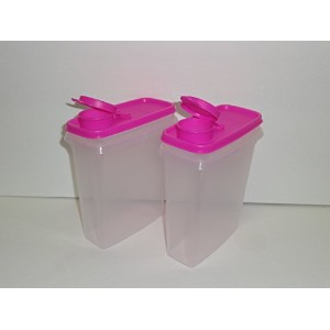 Tupperware Jr Cereal Storer with Neon Electric Pink seals Set of 2 by Tupperware