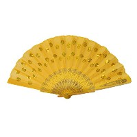 Colorful Peacock Pattern Sequin Fabric Hand Fan-yellow