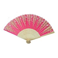 Hand Fan with Wooden Slab-red