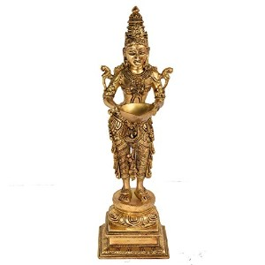Decorative Handicraft Indian Standing Lady Brass Traditional Oil Lamp by Bharat Haat BH05305