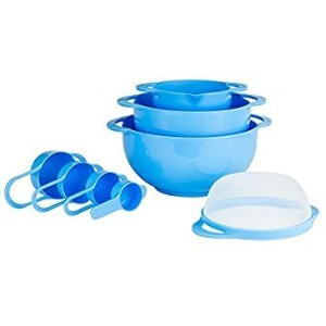 intriom 8コンパクトのネストセットミキシングボウルセット測定ツールSieve Colander Food Prepプラスチック食洗機対応ノンスリップ、8点、ライトブルー