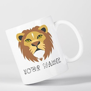 Personalised Lion Cute Animal Zoo Children Customizable マグカップ