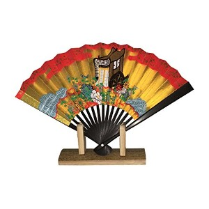 Japanese和紙紙gosyo Guruma sensu ( 15 cm Folding Fan ) with元ボックスとスタンド