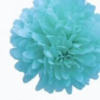 Blue Tissue Garland with 6POMS 9ft
