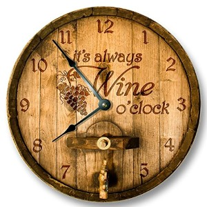 Its always WINE o'clock wall clock - wooden cask lid printed image - rustic cabin bar home decor ...