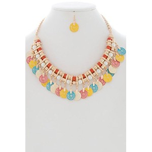 Bejewled Jewellery Pearl and Bead Layered withマルチトーンTreasureコインネックレスセット