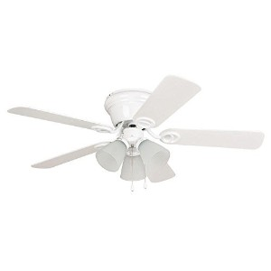 Litex WC42WW5C3F Wyman Collection 42-Inch Ceiling Fan with Five Reversible Classic White/Whitewash...