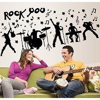 who's storeウォールステッカー 音楽 楽器 ロック・ユー スティック リビング 貼ってはがせる Wall stickers (rock you)