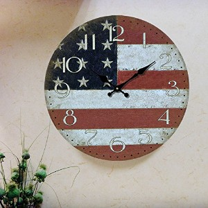 "LOVE(TM)12inch Wooden Clock Shabby Chic Retro Arabic Numeral""America Flag"" Pattern Wooden Wall..."
