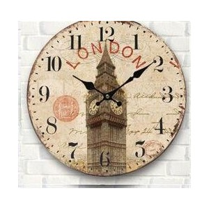"LOVE(TM)12inch Wooden Clock Shabby Chic Retro Arabic Numeral""LONDON big ben"" Pattern Wooden Wall..."