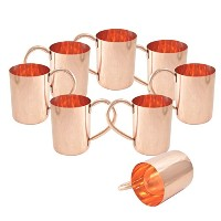 AsiaCraft Pure Copper Moscow Mule Mugs - No Lining, High Quality and Unique Set of 8