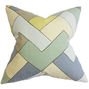 The Pillow Collection QUEEN-ROB-MULTISHAPES-RAIN-C100 Jeppe Geometric Bedding Sham, Blue, Queen/20'...