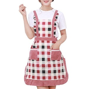 Zhhlinyuan Womens Cute Floral Retro Dress Clothing Cotton Home Work Cook エプロンs