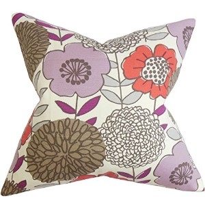 The Pillow Collection KING-D-42347-CURRANT-C100 Purple Veruca Floral Bedding Sham, King/20' X 36' ...