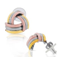 EDFORCE Stainless Steel Gold-Tone Silver-Tone Love Knot Triangle Stud Earrings