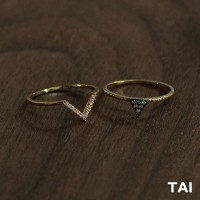 【TAI JEWELRY[タイジュエリー] 】SET OF 2 RING CZ TRIANGLE リング 指輪
