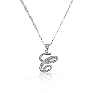 "925 Sterling Silver CZ Letter Initial ""C"" Pendant Necklace - C"