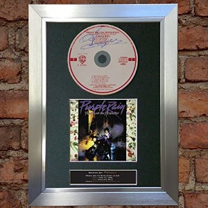 PRINCE Purple Rain Album Signed Autograph CD & Cover Mounted Print A4 no74 (Silver frame)