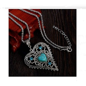 Natural Turquoise Stone Crystal Heart Pendant Necklace Long Necklace Vintage