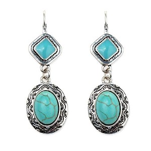 GoBuyレディースCarved Oval Turquoise Drop Dangle Earrings
