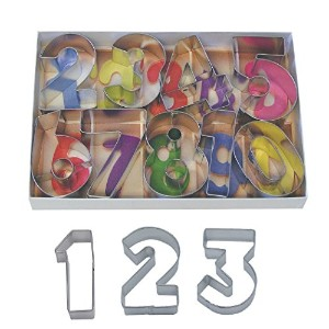 R & M Set of 9 Number Cookie Cutters With Interior Cutouts - Favorite of Bakers 2.5 High