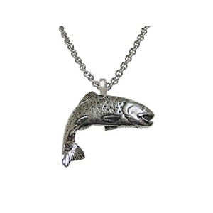 Silver Toned Troutサーモン魚ペンダントネックレス