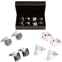 mrcuff New York City Statue Liberty Empire State 4ペアCufflinks in a Presentationギフトボックス