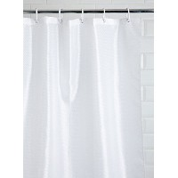 Kiera Grace Diamond Dot Fabric Shower Curtain with Metal Grommets and Weighted Bottom Hem, White