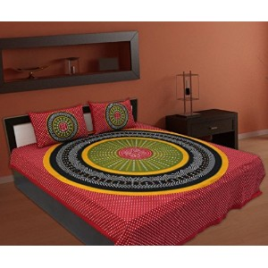 100% Jaipuri Home Bedsheets for Double Bed Cotton