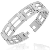 Stainless Steel Silver-Tone Link Chain Zodiac Sign Aries Mens Bracelet with Clasp