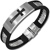 Stainless Steel Black Rubber Silicone Silver-Tone Latin Cross Religious Mens Bracelet with Clasp