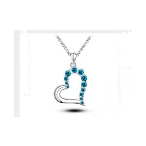 18K White Gold Plated Ethnic Austrian Crystal Heart Pendant Necklace