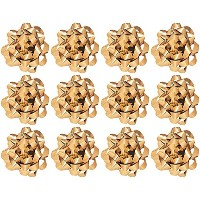 The Gift Wrap Company 12 Count Decorative Metallic Confetti Bows, Large, Gold