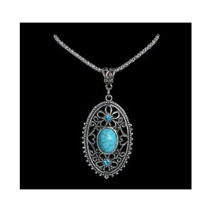 Hollow Alloy Crystal Turquoise Long Pendant Necklace