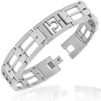 Stainless Steel Silver-Tone Link Chain Zodiac Sign Libra Mens Bracelet with Clasp